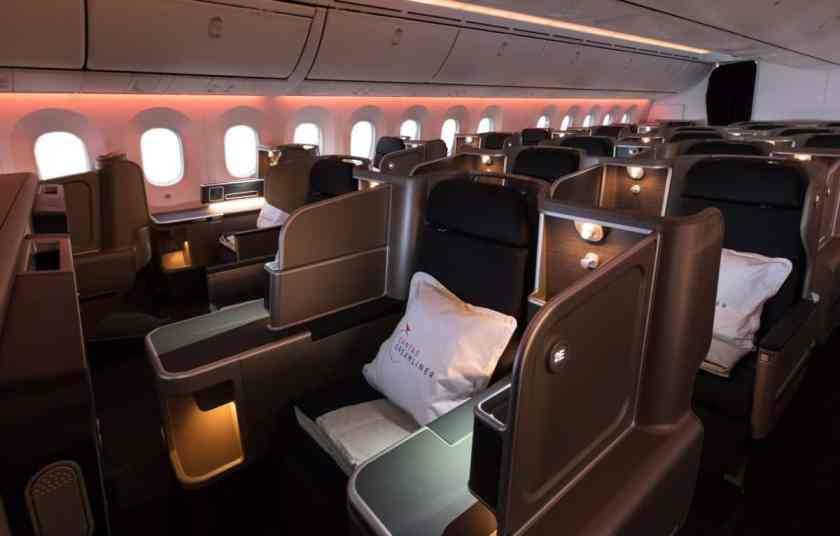 Qantas 787 Dreamliner Business Class Cabin
