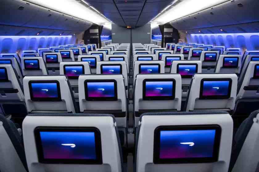 BA World Traveller cabin on LGW based Boeing 777 aircraft