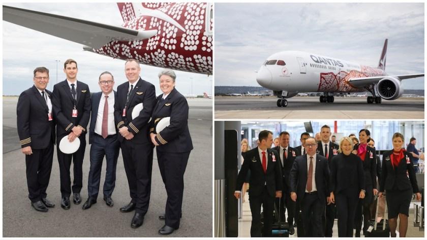 Qantas Group CEO Alan Joyce, Qantas Pilots & Cabin Crew at Perth Airport