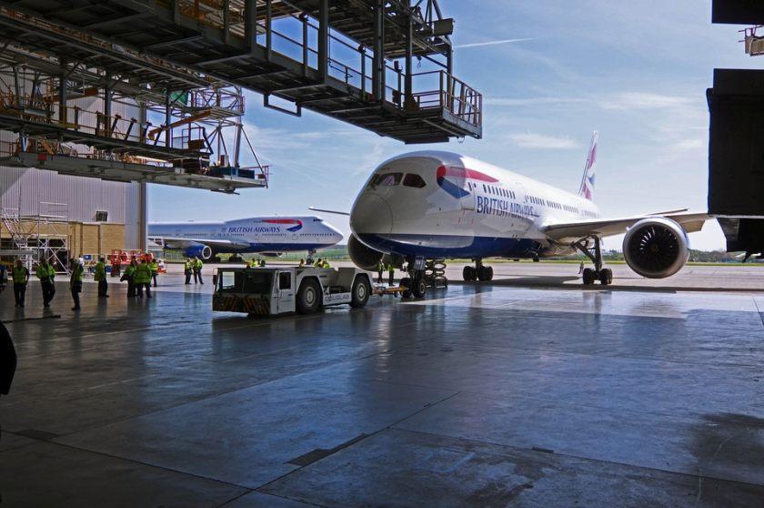 BA Boeing 787 at British Airways Maintenance Cardiff