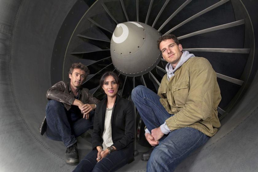 Airport Live presenters, Dallas Campbell, Anita Rani, Dan Snow - (C) BBC - Photographer: Des Willie