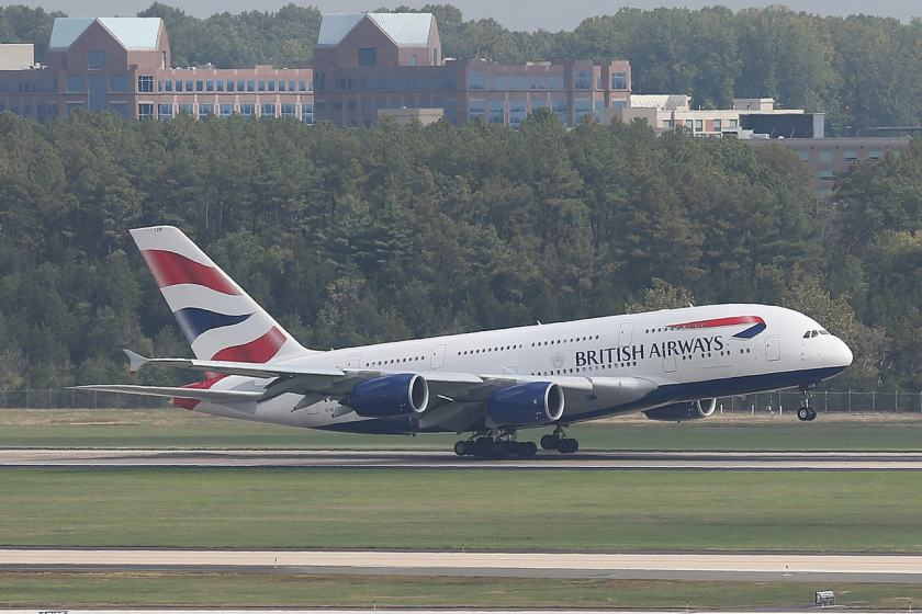 The inaugural British Airways' A380 arrives at Washington Dulles International Airport, Virginia, USA on 2 October 2014 (Image Credit: British Airways)