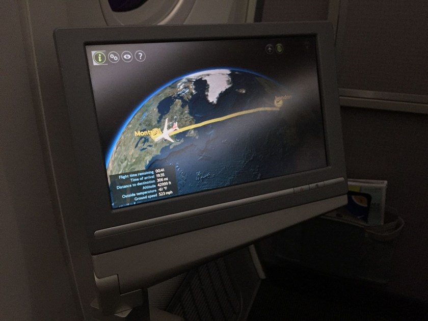 BA World Traveller Plus Boeing 787-8 Exit Row In Flight Entertainment Screen