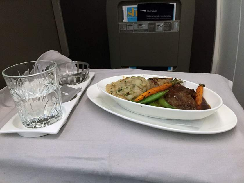 BA Club World Main Course, Seared filled of British Beef, BA95 London Heathrow - Montreal June 2018