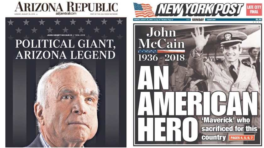 Arizona Republic, New York Post Front Pages - Sunday 26 August 2018