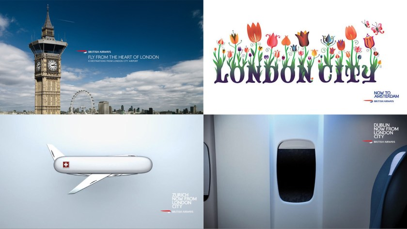 Advertisements for BA at London City airport