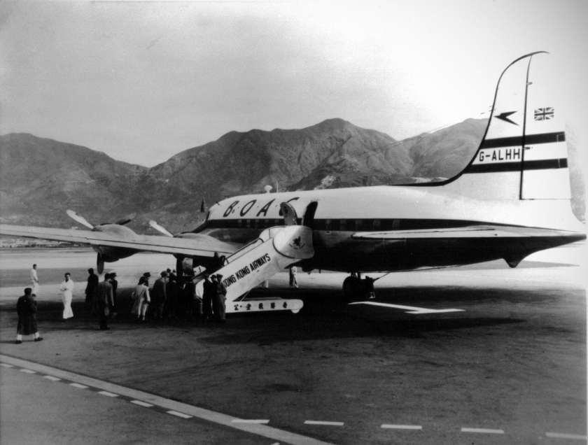 A BOAC operated Canadair Argonaut aircraft Hong King airport, circa 1950.