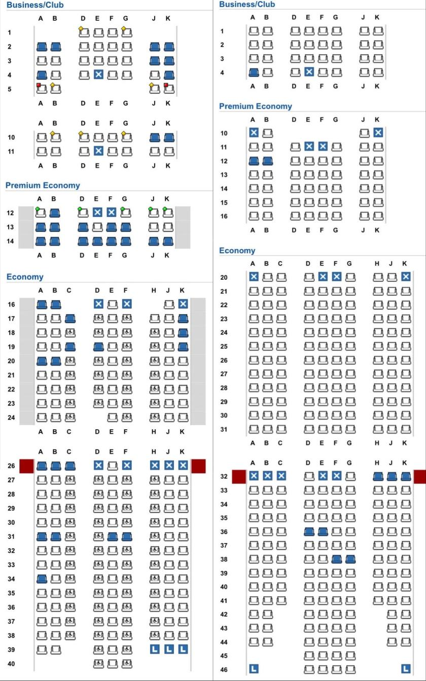 Seat Maps for Non-Refurbished and Refurbished British Airways Boeing 777s.
