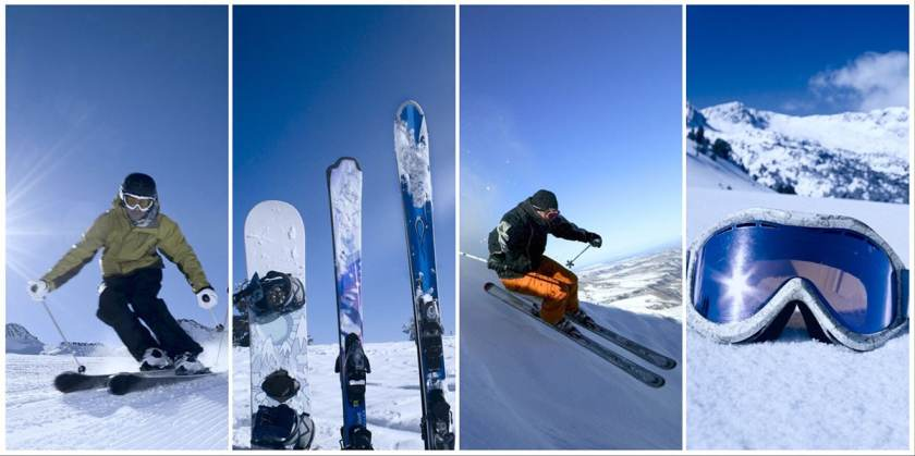 Winter Skiers & Ski Equipment