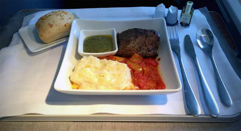 Lunch, American Airlines London Heathrow - Dallas Fort Worth