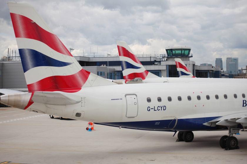 BA CityFlyer Embraer Aircraft at London City airport
