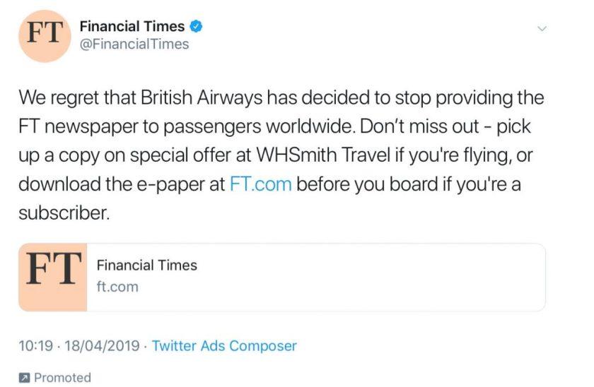 Financial Times Tweet, April 2019