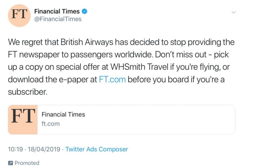 Financial Times Tweet, April 2019