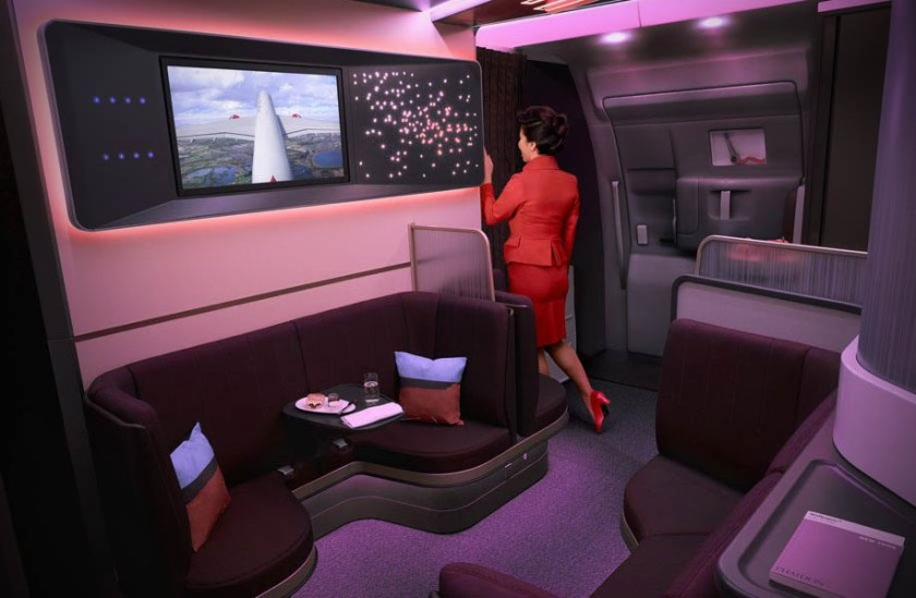 Virgin Atlantic Upper Class Loft Area Airbus A350 aircraft