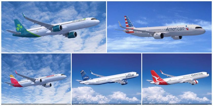 Airbus A321neo XLR aircraft in Aer Lingus, American Airlines, Iberia, JetBlue and Qantas liveries