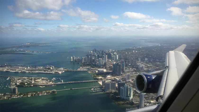 Views of Downtown Miami and Miami Beach