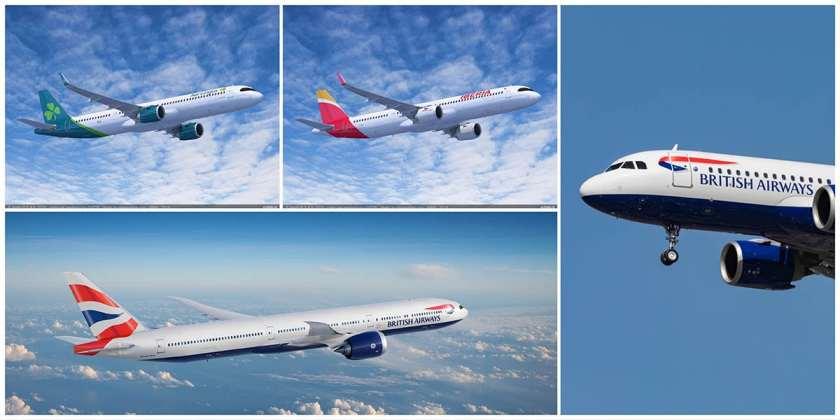 Aer Lingus & Iberia Airbus A321neo XLR aircraft, BA Airbus A321neo aircraft, BA Boeing 777-9 aircraft.