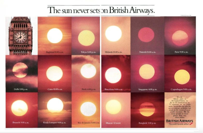"""""""The sun never sets on British Airways"""" 1985 Advertising Campaign"""