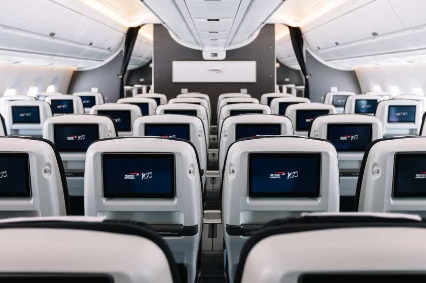 British Airways Airbus A350-1000 Aircraft, World Traveller Plus cabin