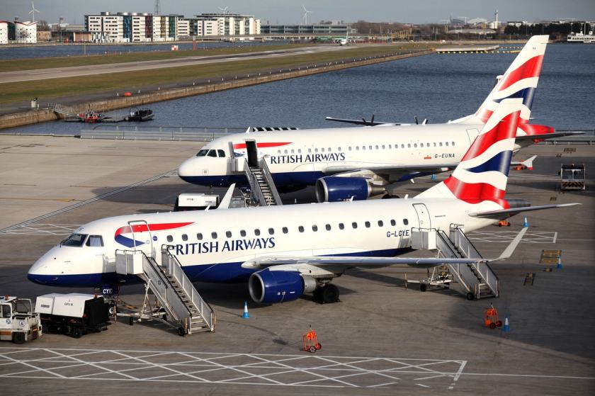 British Airways Embraer E170, Airbus A318 aircraft, London City airport