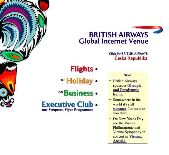 British Airways Website, 1998
