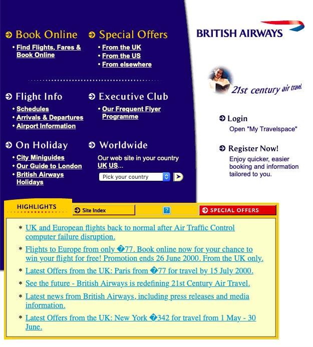 British Airways Website, 2000