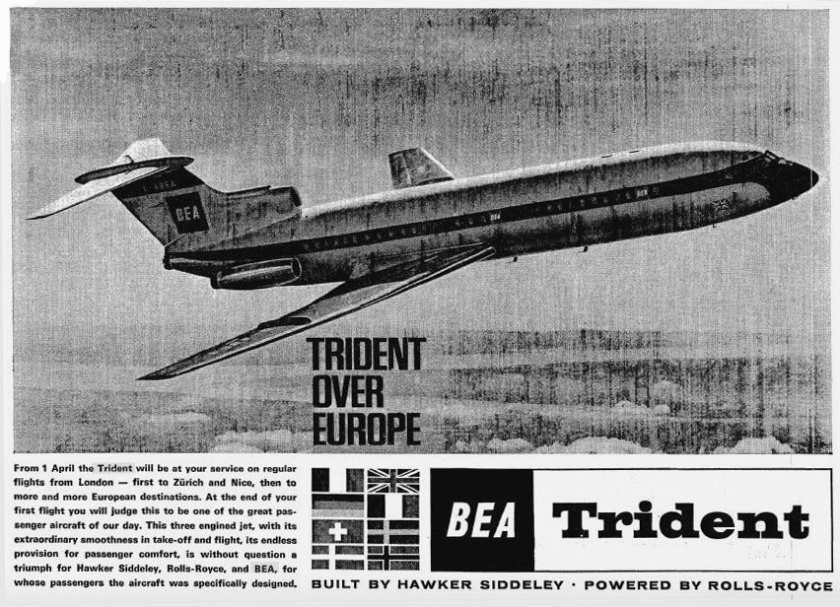 BEA Trident Aircraft Advertisement 1964