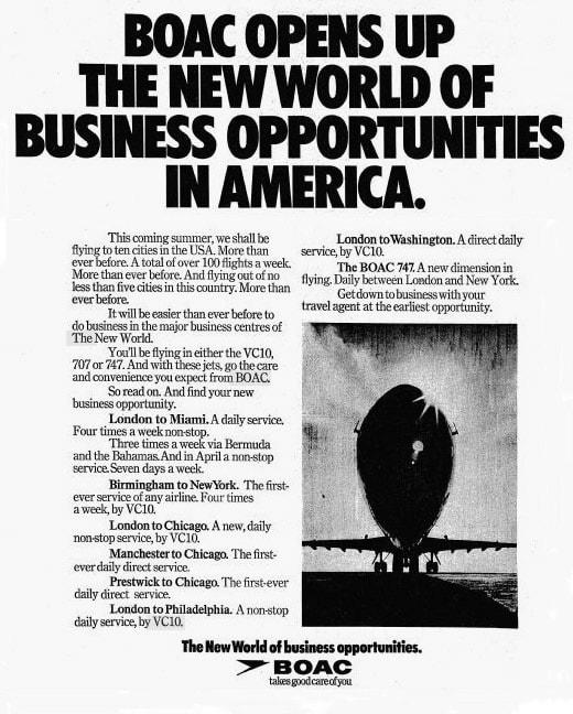 BOAC North America Advert 1970s