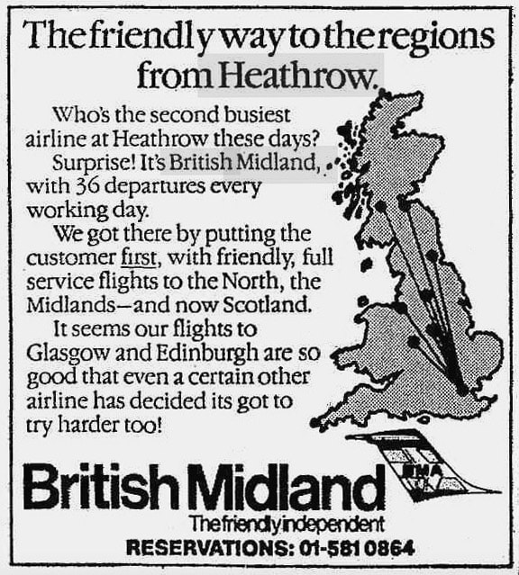 British Midland Press Advertisement 1983