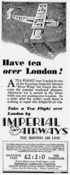Imperial Airways Silver Wing Service Advertisement 1930