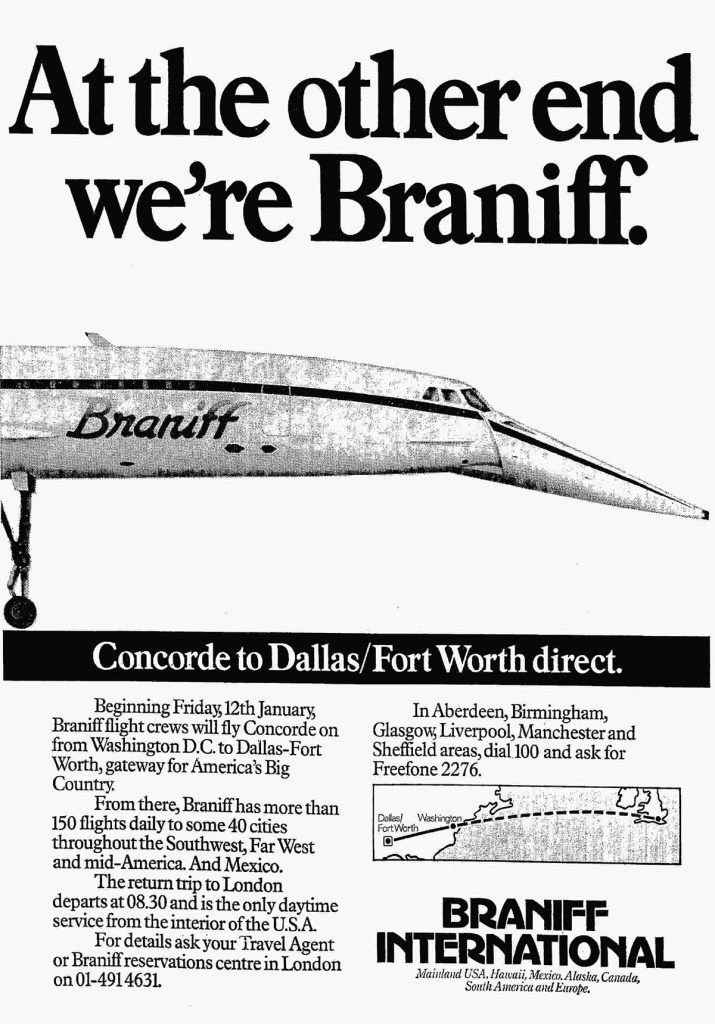 Braniff International, Concorde, Washington - Dallas Fort Worth, January 1979