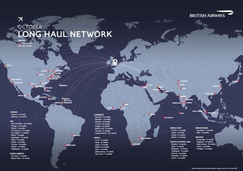 British Airways Long-Haul Network, London Gatwick & Heathrow, October 2020 (1 October 2020 version)