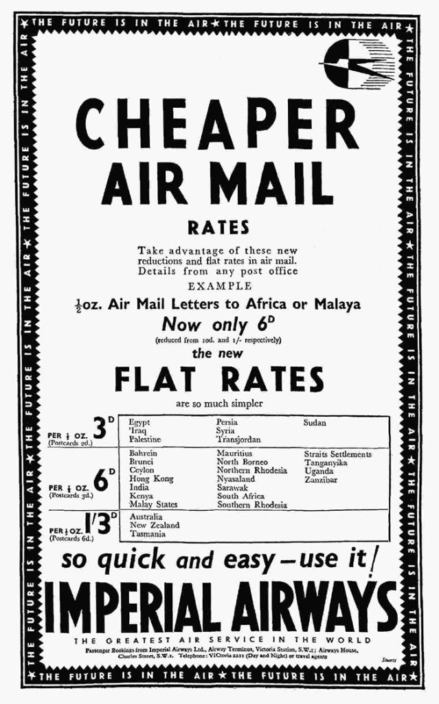 Imperial Airways Air Mail Services, December 1934