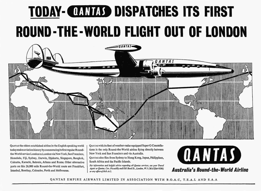 Qantas First Round The World Flight From London, 17 January 1958