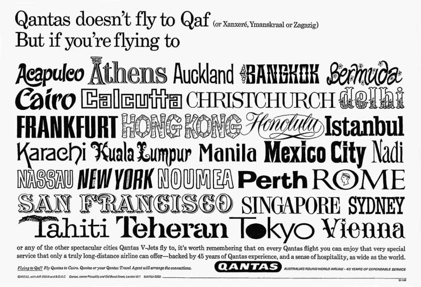 Qantas Global Route Network 1966