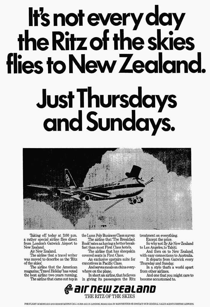 Air New Zealand, London Gatwick - Auckland, August 1982
