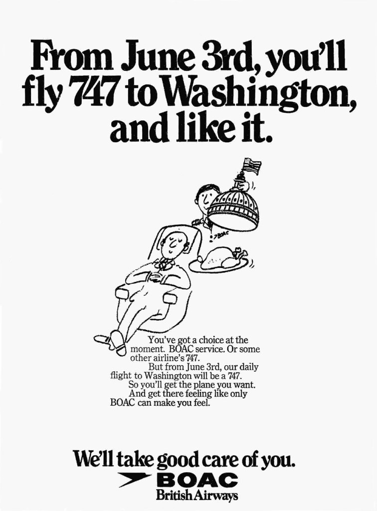 BOAC Boeing 747 Washington Advertisement, June 1973