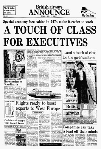 British Airways, Boeing 747 Club Class Advertorial, 27 May 1977