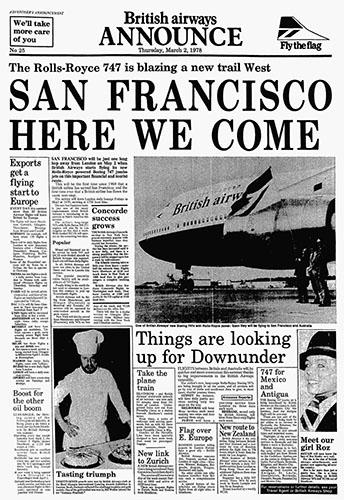 British Airways, Boeing 747 San Francisco Advertorial, 2 March 1978