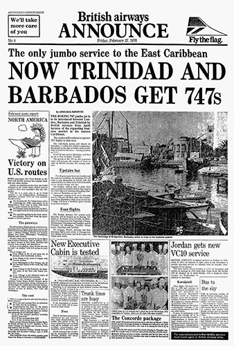 British Airways, Boeing 747 Trinidad & Tobago Advertorial, 27 February 1976