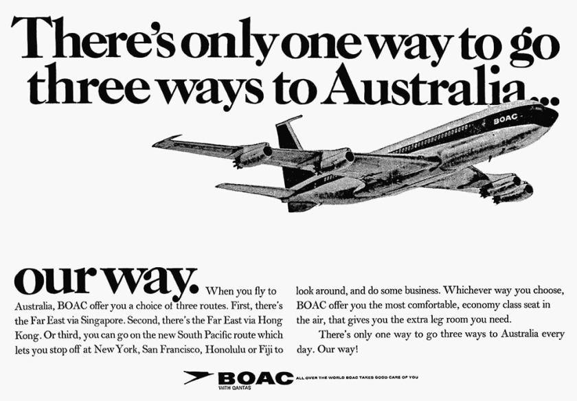 BOAC Australia via Hong Kong, Singapore, or The Pacific Advertisement 1968