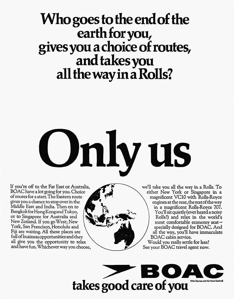 BOAC Australia By Rolls Royce Advert 1969