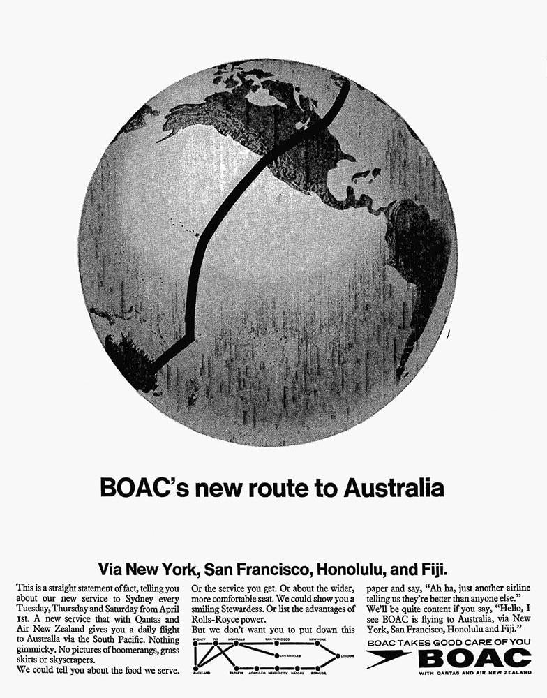 BOAC Australia via New York, San Francisco, Honolulu and Fiji Advertisement 1967