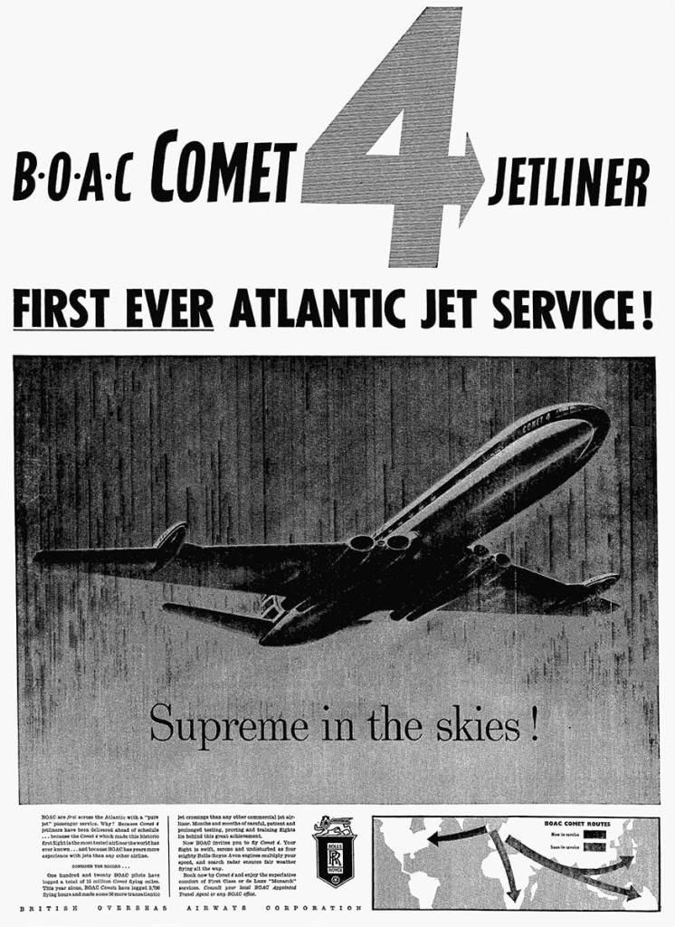 BOAC Comet 4, First Transatlantic Jet Service Advertisement, 6 October 1958