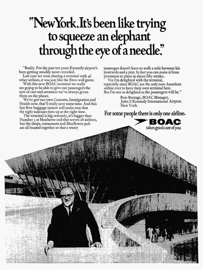 Ron Burrage, BOAC Manager, BOAC Terminal, Kennedy Airport, New York, 1970