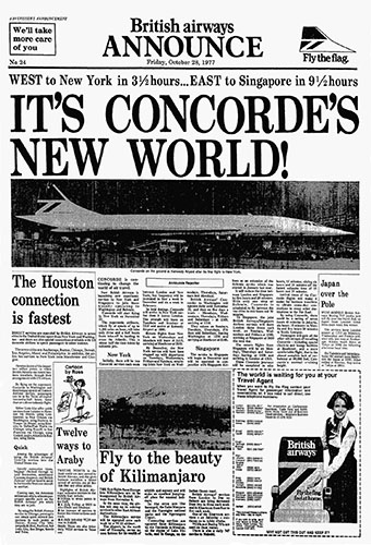 British Airways Concorde Publicity, Pre-launch of services to New York and Singapore, 28 October 1977.