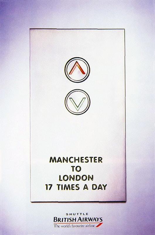 British Airways Shuttle Poster, London - Manchester, 1998
