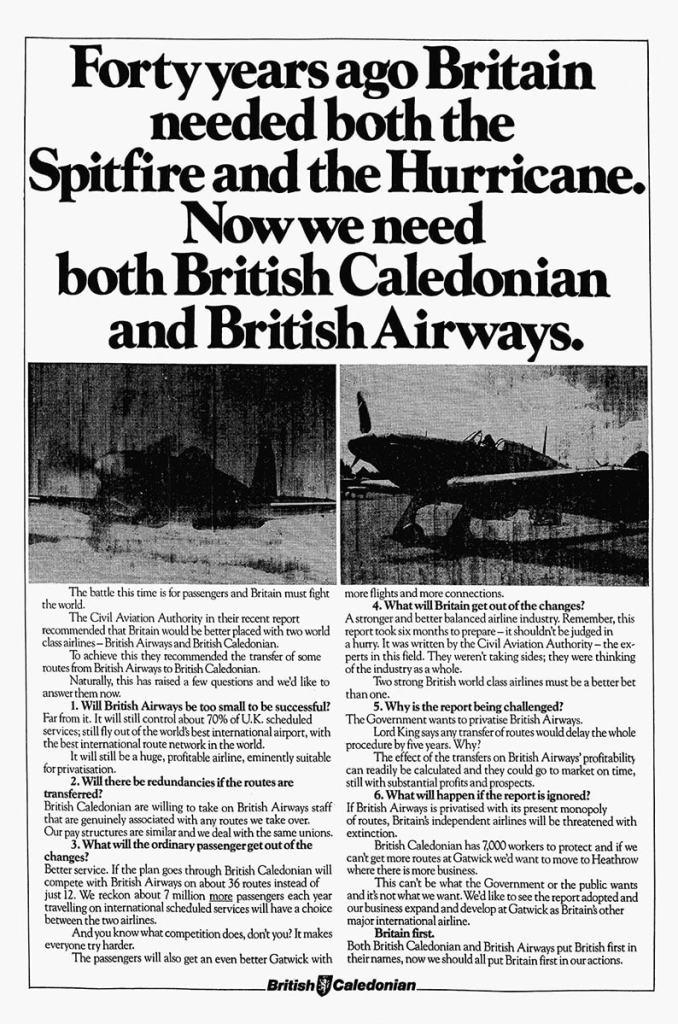 British Caledonian Advertisement, British Airways, 1984