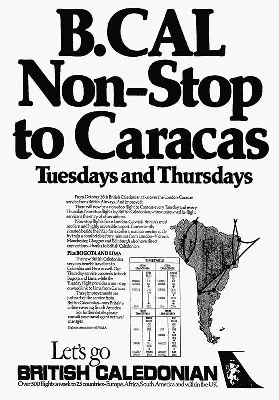 British Caledonian, London Gatwick - Caracas, 26 October 1976