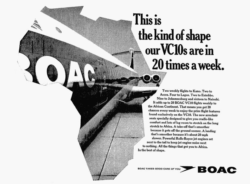 BOAC VC10 flights to Kano, Accra, Lagos, Entebbe, Nairobi and Johannesburg